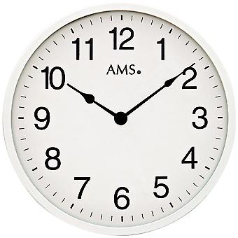 AMS 9494 vegg klokke kvarts analog vet om bare veldig flatt