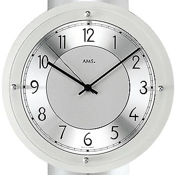 AMS 5215 wall clock radio radio controlled wall clock with pendulum analog silver pendulum clock with glass
