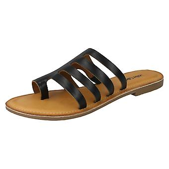 Ladies Leather Collection Flat Strappy Sandals F00125 - Tan Leather - UK Size 3 - EU Size 36 - US Size 5