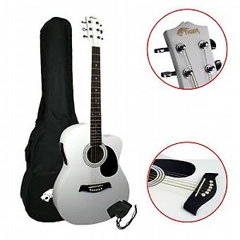 Tiger Electro Acoustic Guitar for Beginners - White
