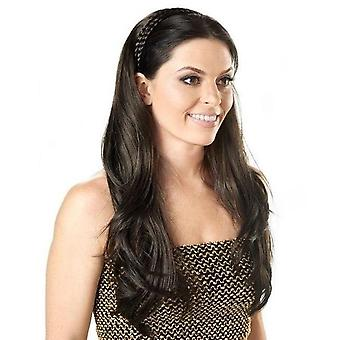Natural Half Wig (3/4 wig) with Plaited Hairband - Long Wave