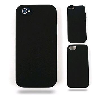 Ajuste híbrido celular ilimitado en estuche de jalea para Apple iPhone 5 / 5S (piel negra con Snap negro)