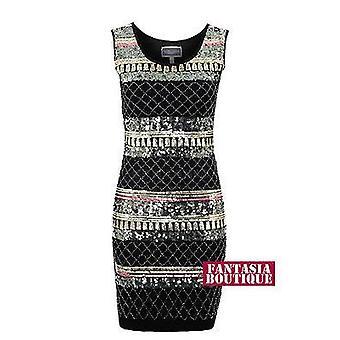 Sukienka Bodycon Panie złoto czarny cekin Aztec haftowane wzór kobiety