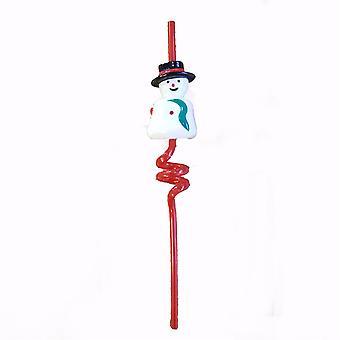 Xmas TRIXES lampeggiante a spirale del pupazzo di neve paglia parla un messaggio festivo quando sorseggiato