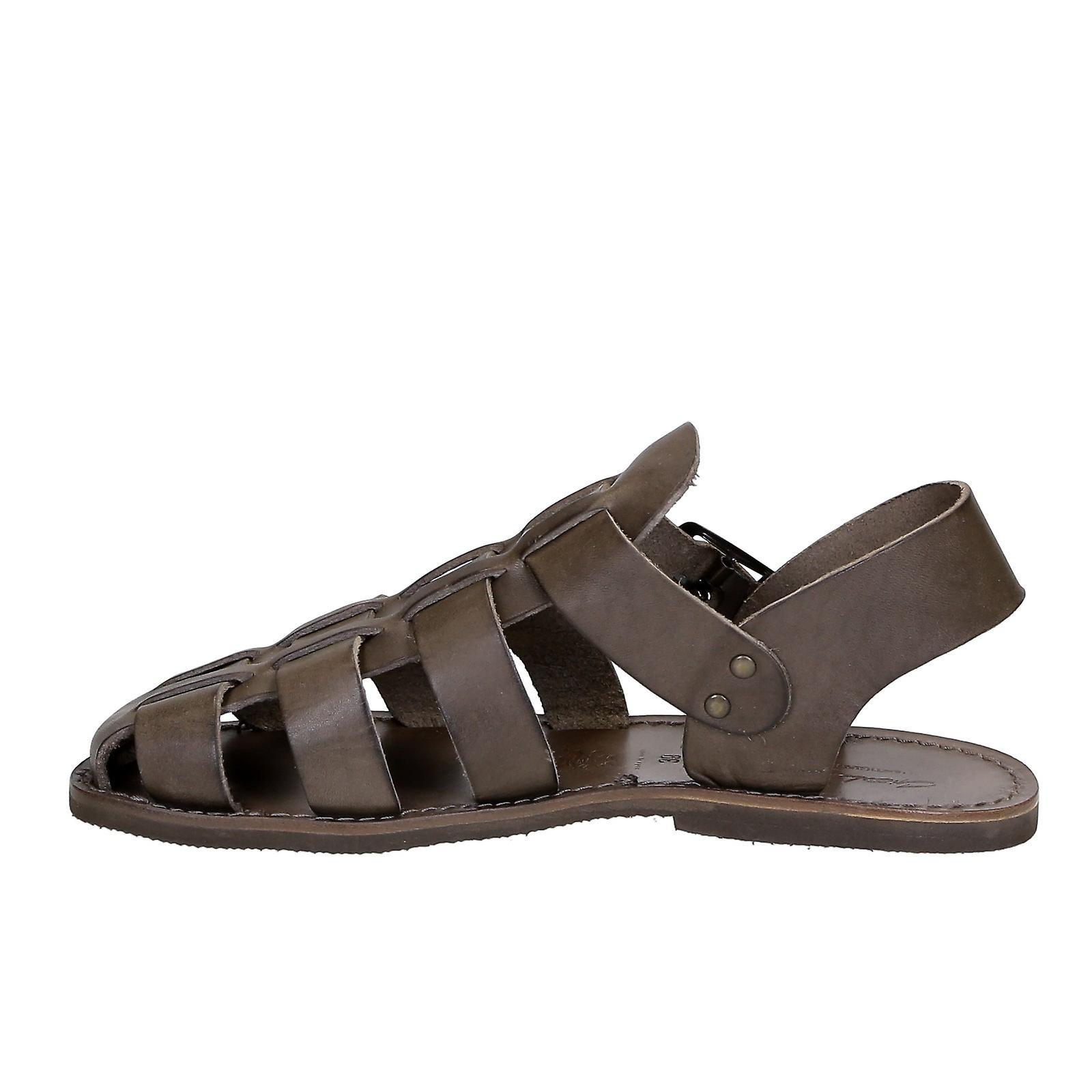 À la main en Italie franciscaine sandales hommes en cuir de couleur de boue