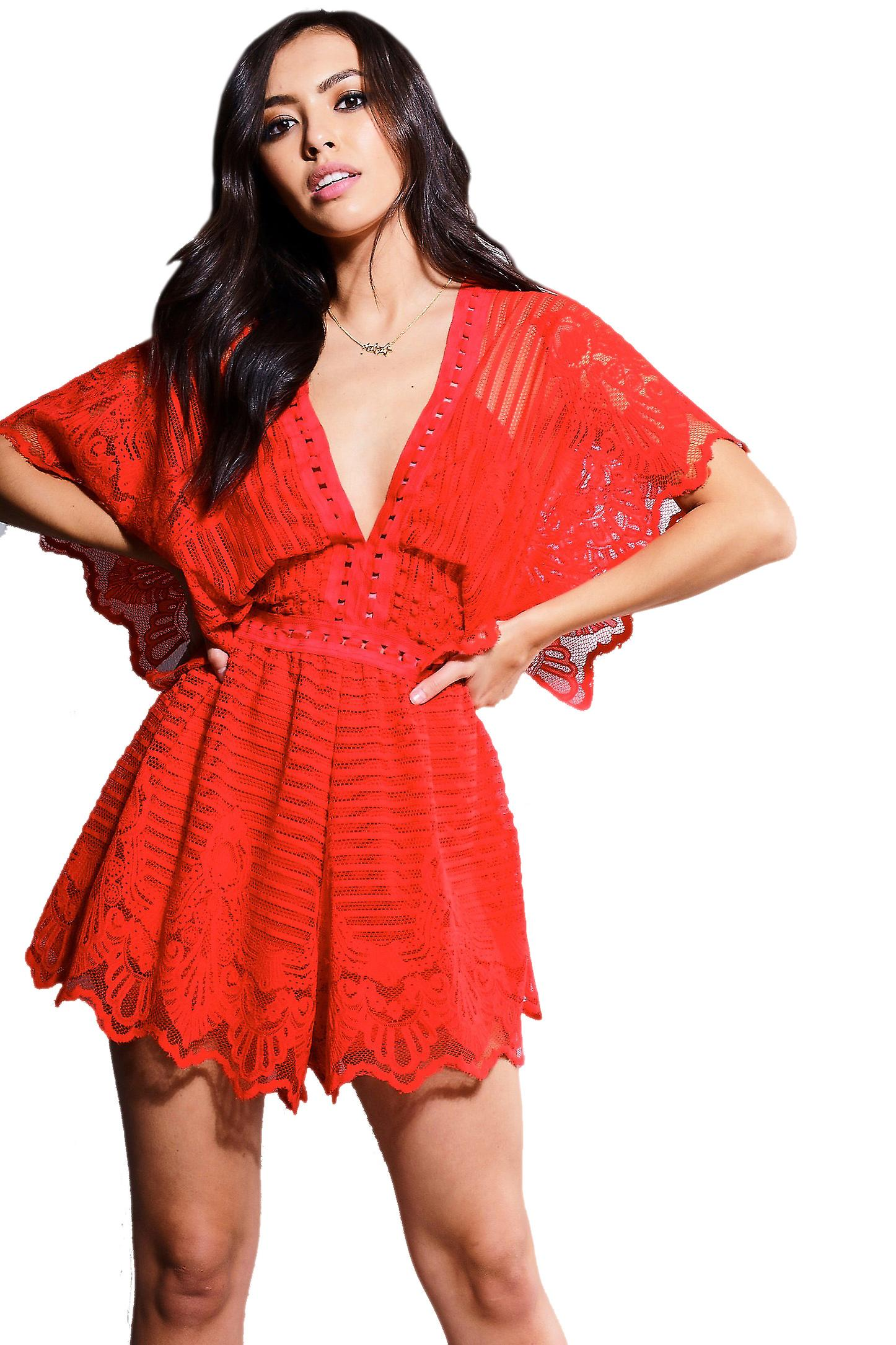 Danity Raspberry Angel Wing Playsuit With Crochet Detailing