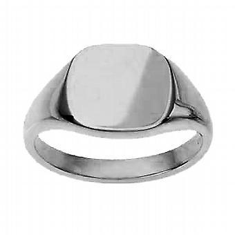 9ct wit Gold13x13mm gewoon kussen Signet Ring grootte R