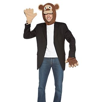 Adult Monkey Head & Hands Zoo Animal Novelty Fancy Dress Costume Accessory