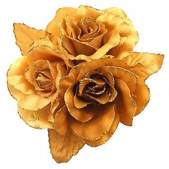 Looking For Golden Rose Satin Flower Dress Brooch & Hair Bun Brooch