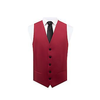 Dobell Mens Red Waistcoat Regular Fit