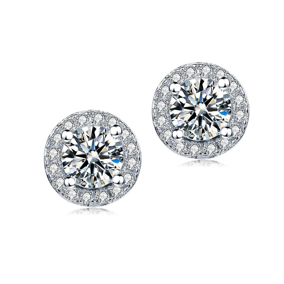 925 Sterling Silver 7 Mm Round Halo Aaaaa Cz Earrings