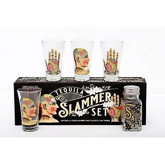 Phrenology Tequila Palmist Psychology Slammer Shot Drinking Gift Set Salt Designed by Temerity Jones