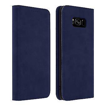 Flip Book cover, wallet case with stand with TPU shell for Galaxy S8 - Blue