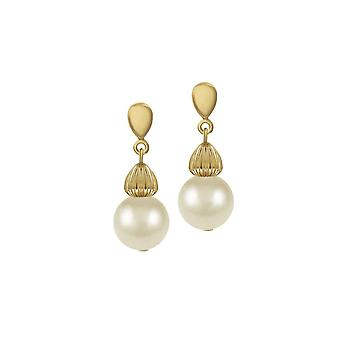Eternal Collection Solitaire Cream Pearl Gold Tone Drop Clip On Earrings