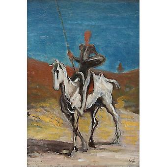 Don Quixote and Sancho Pansa,Honore Daumier,52x32cm