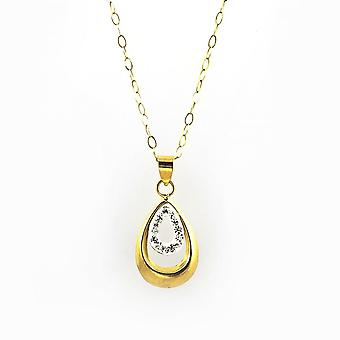 Eternity 9ct Gold Crystal Set Double Loop Pendant And 16'' Trace Chain