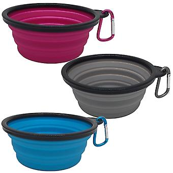 Mr. peanut's 3 pak xl (25oz) collapsible silicone bowls with color matched carabiner clips