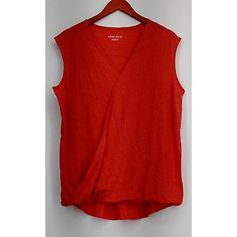 Ava & Viv Plus Top Dark Orange Space Dyed Rolled Hem Womens