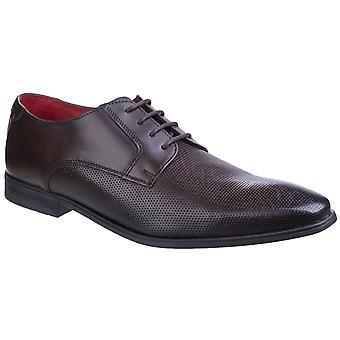 Base London Mens Charles Waxy Lace Up Derby Shoe Brown