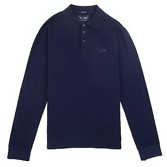 Armani Jeans AJ Eagle Logo A maniche lunghe Polo Camicia Navy