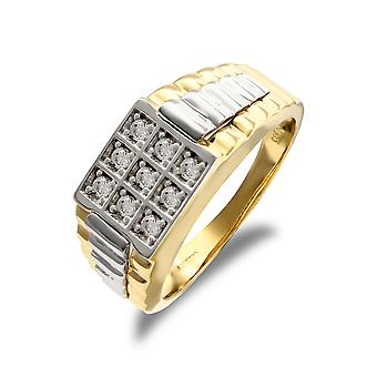 Jewelco London Men's Solid 9ct Yellow and White Gold White Round Brilliant Cubic Zirconia 9 Stone Square Cluster Signet Ring