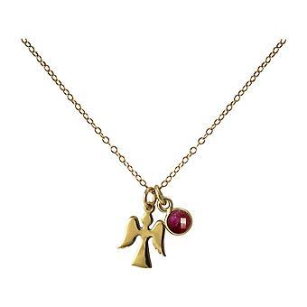 Gemshine Halskette Anhänger Engel Schutzengel 925 Silber oder vergoldet Rubin