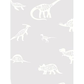 Over the Rainbow Dino Dictionary Wallpaper Grey Holden 90900