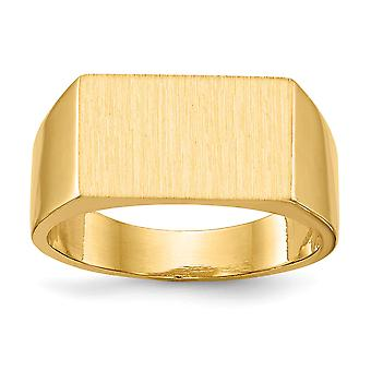 14 k giallo oro lucido Engravable Mens dell'anello di Signet - 10,0 grammi - taglia 10