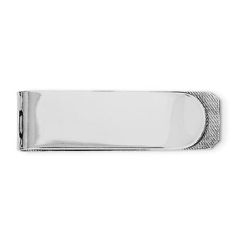 925 Sterling Silver Solid Polished Rhodium Plated Money Clip Jewelry Gifts for Men - 16.0 Grams
