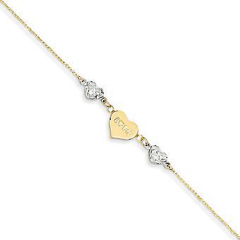 14 carati bicolore lucido primavera anello oro Ropa Sparkle-Cut perline Puff cuore mamma con 1 pollice Ext cavigliera - 9 pollici