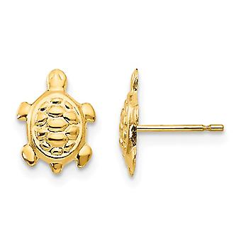 14k Yellow Gold Polished Turtle Post Earrings Jewelry Gifts for Women - .2 Grams