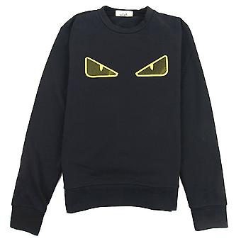 Fendi bug mesh Eye Sweatshirt svart/gul