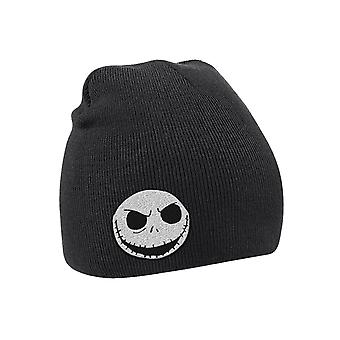 The Nightmare Before Christmas Beanie Hat Skull Logo Official Mens New Black
