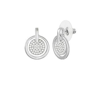 Eternal Collection Sublime Clear Crystal Silver Tone Disc Drop Pierced Earrings