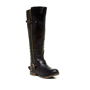 Steve Madden Womens Qiana Cuir Amande Toe Knee High Fashion Boots