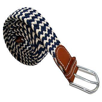 Bassin et marron rayé ceinture tressée élastique - bleu marine/blanc