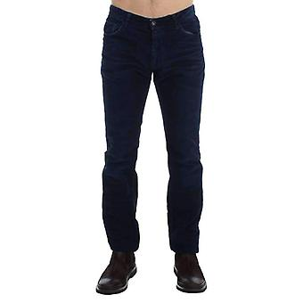 Blue Corduroy Slim Fit Pants Jeans -- SIG1707205
