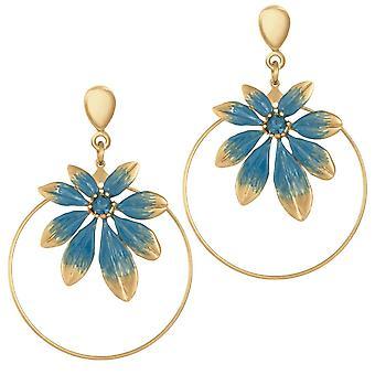 Eternal Collection Biarritz Blue Enamel Gold Tone Drop Hoop Clip On Earrings