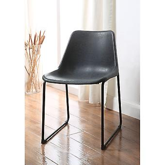 Set of Two Metallic Side Chairs with Leather Upholstered Seat, Vintage Black & Black