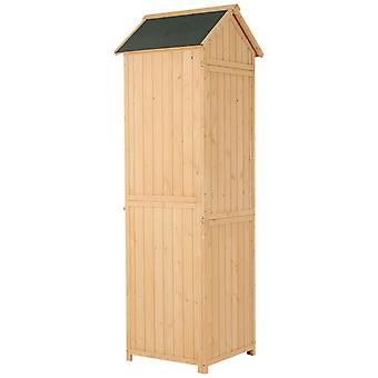Outsunny Garden Storage Shed Tool Cabinet Organiser Arrow Wooden Shelves Backyard Asphalt Roof Wooden Shelf Outdoor