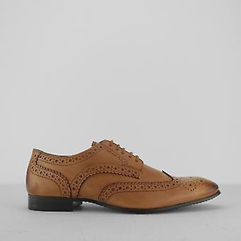 Silver Street London Portman Mens Leather Derby Brogue Shoes Tan