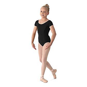 Mirella Girl's Princess Seam Cap Sleeve Dance Leotard Black 8-10