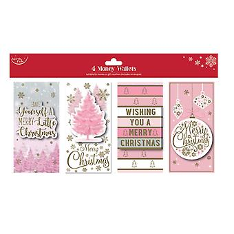 North Pole Pink Christmas Money Wallets (Pack Of 4)