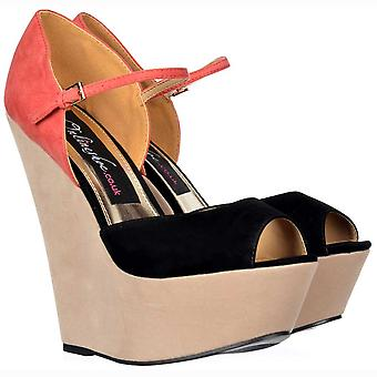 Onlineshoe Three Tone Peep Toe Wedge - Ankle Strap - Nude/coral/black Suede