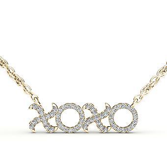 "Igi certified 10k yellow gold 0.15 ct natural diamond ""xo"" pendant necklace"