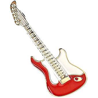 Bassin och Brown Guitar lapel PIN-röd/vit