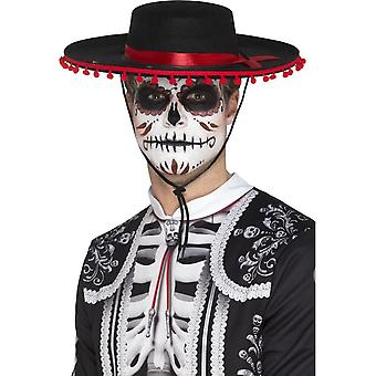 Day of the Dead Senor Hat, Black & Red