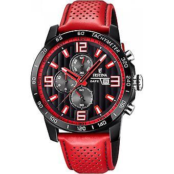Festina watch originale F20339-5 - Chronograph Leder rot Mann beobachten