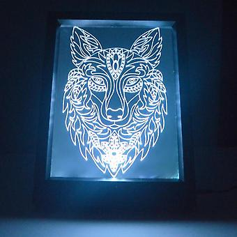 Decorative Wolf Head Colour Changing RC LED Mirror Light Frame