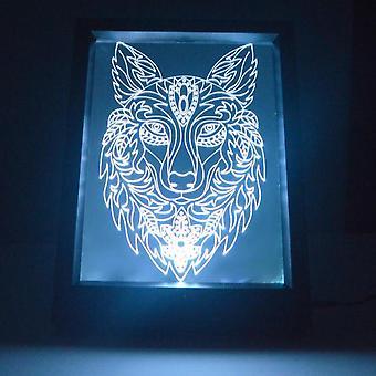 Dekorative Wolf Kopf Farbwechsel RC LED Spiegel LightFrame